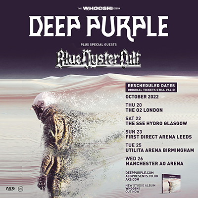 Deep Purple and Blue Oyster Cult Dates rescheduled to 2022